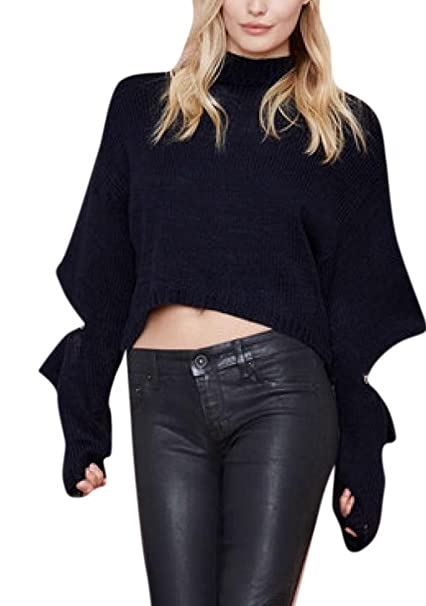 fa0914b1f04 Lingswallow Women's Sexy Black Turtleneck Knit Sweater Jumper Oversized Crop  Top at Amazon Women's Clothing store: