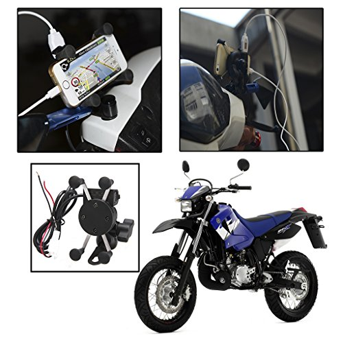 Excelvan Universal Motorcycle Phone Mount Holder Usb Charger For Iphone Samsung Gps Device