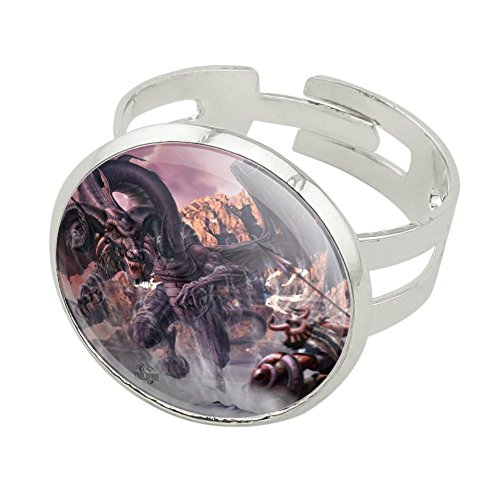 Graphics and More Black Dragon Attacking Flying Fantasy Silver Plated Adjustable Novelty Ring