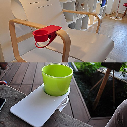 Drinking Cup Holder Clip - Home Office Table Desk Side Huge Clip Water Drink Beverage Soda Coffee Mug Holder Cup Saucer Clip Design, Black