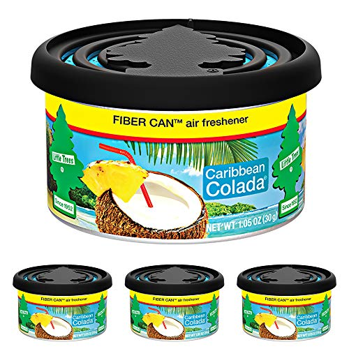LITTLE TREES Fiber Can auto air freshener, Caribbean Colada, 4 count