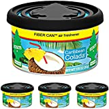 LITTLE TREES Car Air Freshener | Fiber Can Provides a Long-Lasting Scent for Auto or Home | Adjustable Lid for Desired Strength | Caribbean Colada, 4-Pack