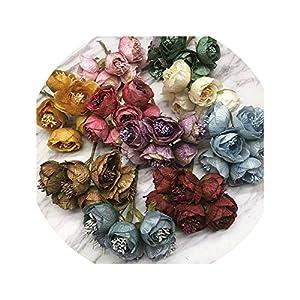 Dream-catching 6 Pieces 5cm Peony Flower Head Silk Artificial Flowers for Wedding Decoration DIY Decorative Wreath Fake Flowers 14