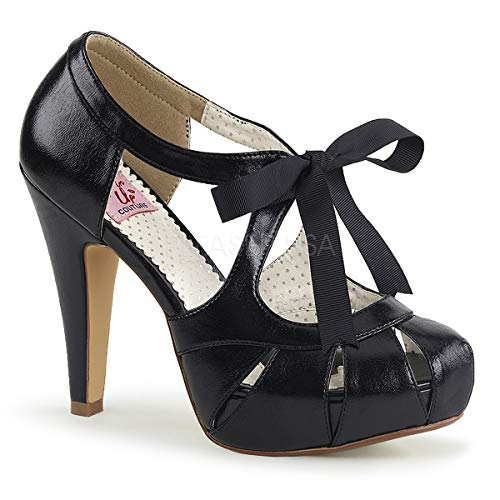 Pin Up Couture Women's BETTIE-19 Sandal, Black Faux Leather, 9 M US