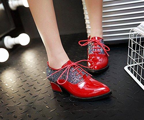 super popular a057b 07214 ... Charm Fot Kvinna Mode Paljetter Lackläder Snörning Oxford Skor Röd