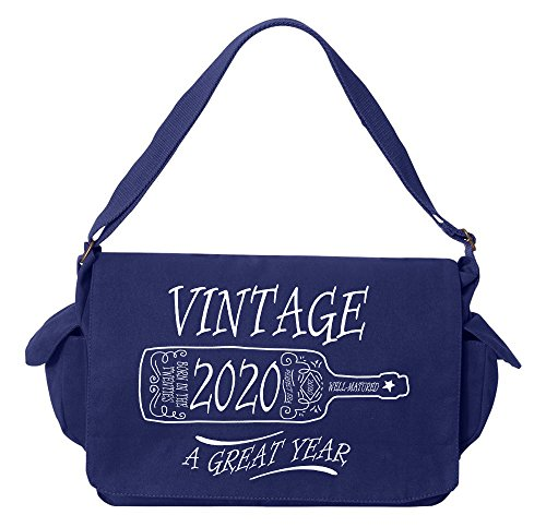 Tenacitee Aged Like a Fine Wine 2020 Royal Blue Brushed Canvas Messenger Bag by Tenacitee (Image #3)