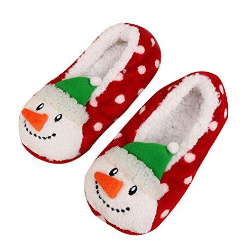 BZLine® Frauen Plüsch warme Hausschuhe weiche Plüsch-Weihnachtsschuhe D