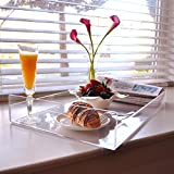 MyGift 22 inch Premium Large Clear Acrylic Multipurpose Decorative Butler Tray/Breakfast Serving Tray with Handles