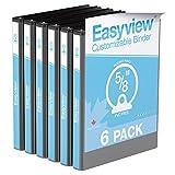 "Easyview® Premium, 5/8"" Round Ring, Customizable, View Binder, 6 Pack – Black"
