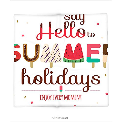 Custom printed Throw Blanket with Lifestyle Decor Say Hello to Summer Holidays Enjoy Every Moment Phrase with Ice Cream Image Multi Super soft and Cozy Fleece Blanket (Every Halloween Icp)