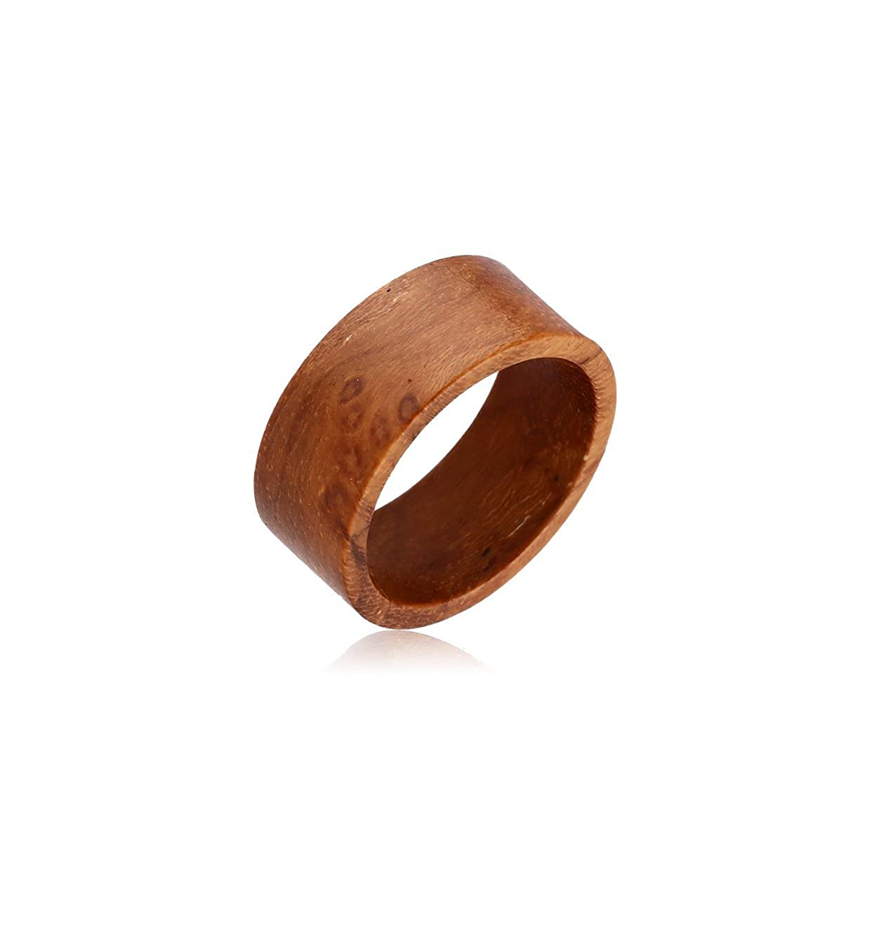 Plain Wood Ring - Teak Wood Flat Bubble 200-WKF217-27AA