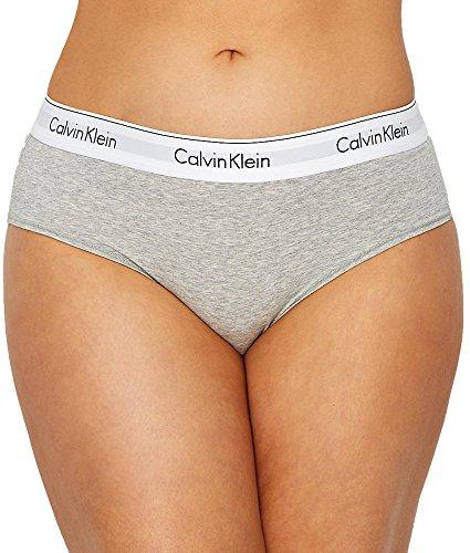 Calvin Klein Women's Plus Size Modern Cotton Bikini Panty, Grey Heather, 2X