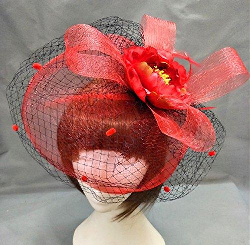 usongs Dinner bride red double-decker red hat mesh hair clips camellia velvet dot hair accessories