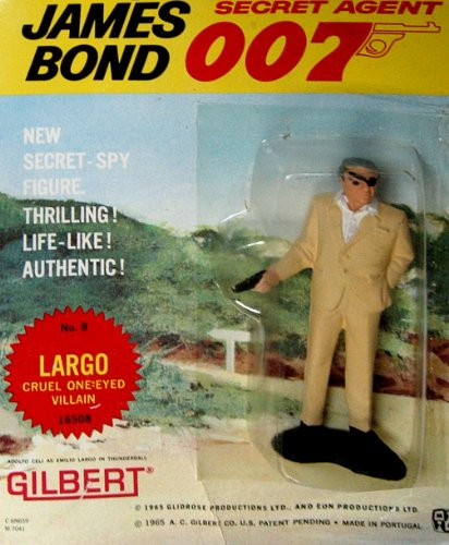 James Bond Vintage Gilbert Movie Figure # 8 Largo : Cruel One-eyed Villain on Original 1965 Era Card (Martin Db5 1 Aston 8)