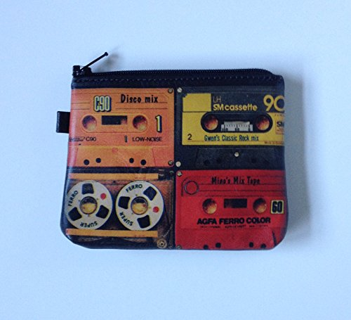 CHANGE PURSE with CASSETTE TAPE DESIGN Zippered Card Wallet Genuine Leather