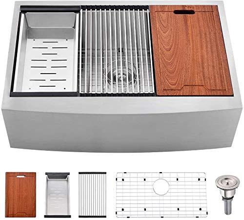 Farmhouse Kitchen 33 Inch Farmhouse Sink -Bokaiya 33×22 Stainless Steel Farmhouse Apron Front Sink Workstation 16 Gauge Single Bowl Farm… farmhouse kitchen sinks