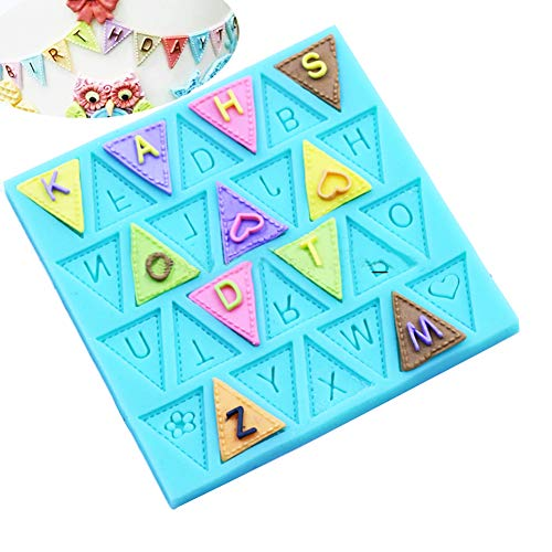 (KALAIEN Bunting Alphabet Flag Silicone Fondant Mold Chocolate Mould Baking Tools)