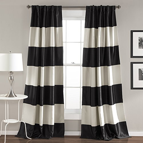 Lush Decor Montego Stripe Window Curtain Panel Set, 84″ x 52″, Black
