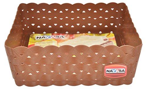 Nayasa Plastic Ocean Basket Set, Set of 3, Dark Brown