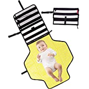 Baby Diaper Changing Pad Clutch - Portable Diaper Changing Station for Baby Newborn Infant,Foldable Mat with Detachable Pad & Built-in Head Cushion - Comfortable Waterproof Wipeable