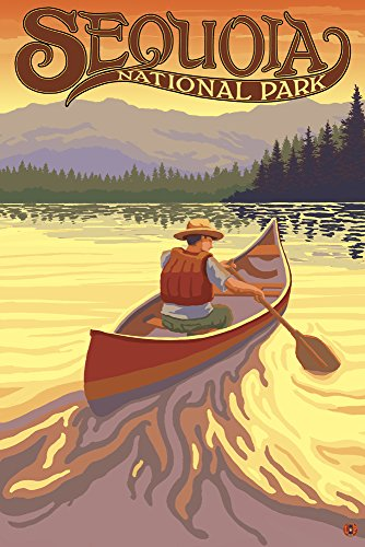 (Sequoia National Park - Canoe Scene (16x24 SIGNED Print Master Giclee Print w/Certificate of Authenticity - Wall Decor Travel Poster))