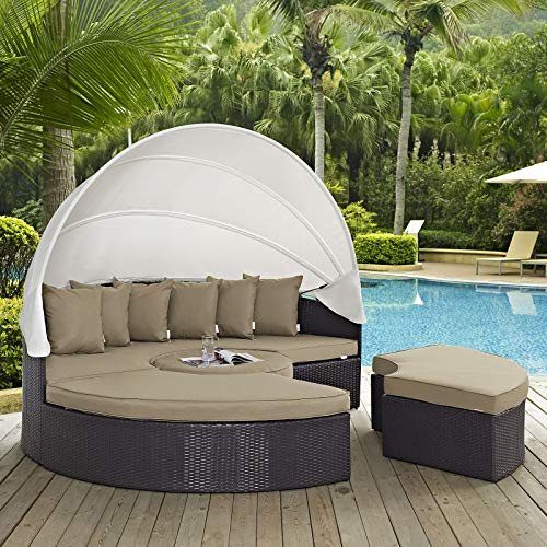Modway Quest Circular Outdoor Wicker Rattan Patio Daybed with Canopy in Espresso Mocha (Daybeds Furniture Outdoor)