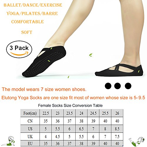 Yoga Socks 3 Packs Non Slip Anti Skid Socks Women-Elutong Ballet Barre Yoga Pilates Fitness Sports Socks For Women Lady Girls(5-8.5)