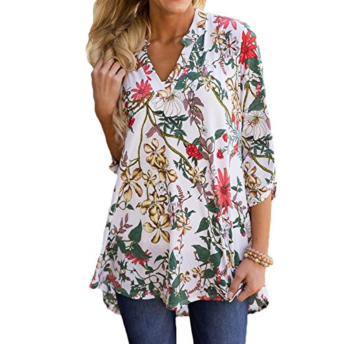 Floral Print Jersey Top - Jessica CC Women's Paisley Print Slight V Neck Tunic 3/4 Sleeve Blouse Shirt Tops (XX-Large, Style 10)