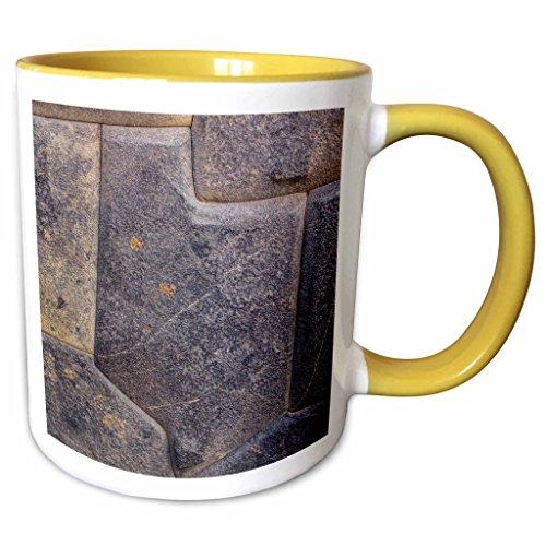 3dRose Danita Delimont - John and Lisa Merrill - Walls - Peru, Cuzco, Sacred Valley, Ollantaytambo, Inca stone wall detail - 15oz Two-Tone Yellow Mug (mug_188576_13) ()
