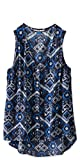 KAVU Women's Beryl Tank Top, Blue Ikat, Medium