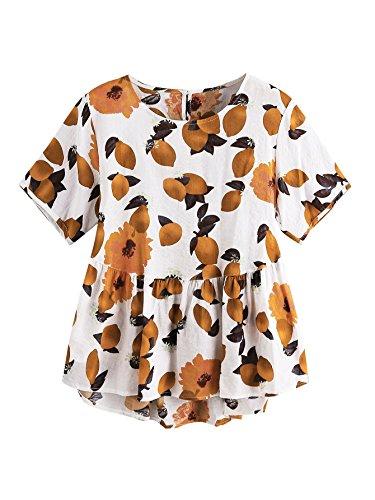 Shein Womens Loose Ruffle Hem Peplum Short Sleeve Blouse Top One Size Lemon Print