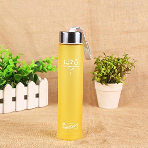 Yeefant Outdoor Camping Cup Creative Matte Frosted Colorful Plastic Straight Bottle,8.1x1.7 Inch,Yellow