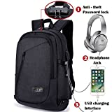 Laptop backpack,Anti Theft Backpack School Backpack Business Bag with Headphone Port, Anti Theft School Computer Backpacks with USB Charging Hole and Water Resistant Fits 15.6 Inch Laptop (black)