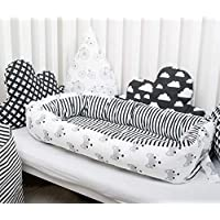 Baby nest with removable cover, toddler size nest bed Foxes pattern portable crib lounger baby bassinet co sleeper babynest grand bed travel pad pod for newborn co sleeping