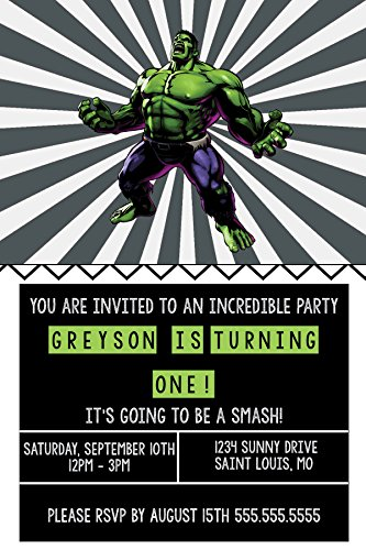 Custom Birthday Invitations - Super Hero Party - Incredible Hulk ()