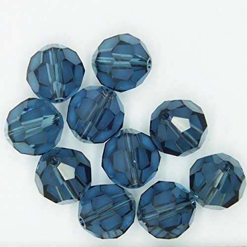 Montana Blue 8mm Swarovski Crystal Beads. Round. Made in Austria. Pack of 10