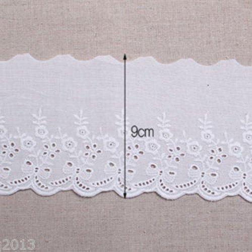 14yds Broderie anglaise Coton /à /œillets Bordure en dentelle 9/cm Yh890 blanc