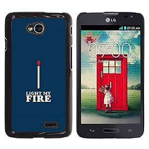 Be Good Phone Accessory // Dura Cáscara cubierta Protectora Caso Carcasa Funda de Protección para LG Optimus L70 / LS620 / D325 / MS323 // Match Blue White Fire Love Valentines