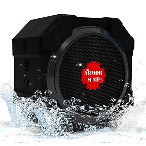 ARMOR MiNE Wireless Bluetooth Speakers with Super Bass, V4.1 with Microphone, Loud Audio Wireless Sound with Subwoofer, for iPhone 7 Plus,7,Samsung,Tablets, Waterproof Ipx5 Rugged and Portable (Clearance Subwoofers)