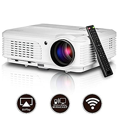 2016 Updated Portable Android Video Projector LCD LED HD Home Theater Entertainment Support HDMI VGA AV USB TV for Music TXT Video Picture with Keystone Built-in Speakers Remote 1080P