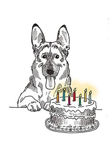 german shepherd happy birthday fine art greeting card inside reads happy birthday