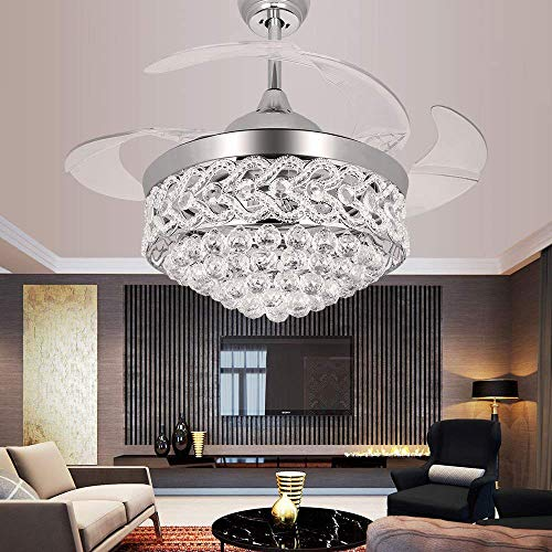 TiptonLight 42 Inch Ceiling Fans with LED Light Kits and Remote Control,Contemporary Golden Crystal Chandelier Ceiling Fan with Plume and 4 Invisible Retractable Blades-Silver