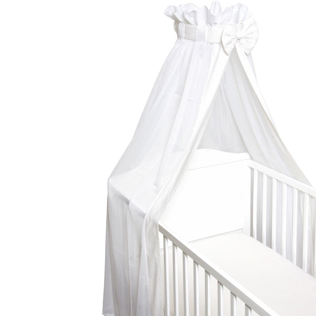 Babybett Schleier // Betthimmel WEI/ß F/ür Babybetten 60 x 120 cm // 70 x 140 cm Mit Schleife