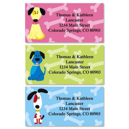 Colorful Dogs Personalized Border Return Address labels- Set of 144 1-1/8