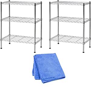 "Sandusky WS241430 Wire Shelving, 24"" Width x 30"" Height x 14"" Depth, 3 Shelves, Chrome (2-Pack) with Cleaner Cloth"