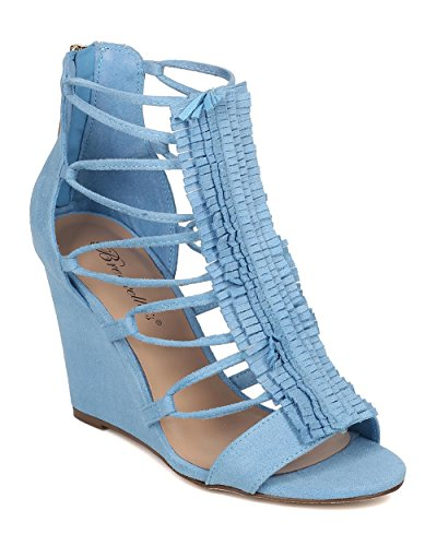 Breckelle's Women Open Toe Fringe Sandal - Layered Fringe Wedge - Caged Heel - GH98 by Blue Faux Suede (Size: 6.5)