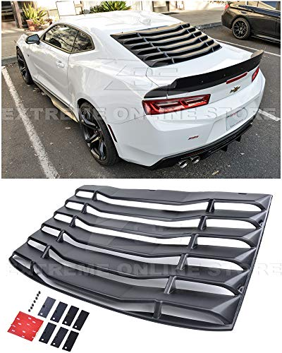 For 2016-Present Chevrolet Camaro ALL Models | EOS Track Performance ABS Plastic Primer Black Rear Window Louver Sun Shade Cover ()