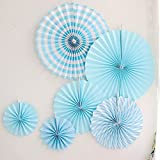 LG-Free 12pcs Blue Hanging Tissue Paper Fan Round Folding Fans Wall Hanging Fan Fiesta Wedding Birthday Kids Supplies for Christmas Tree Home Decorations, Party, Wedding (Blue)