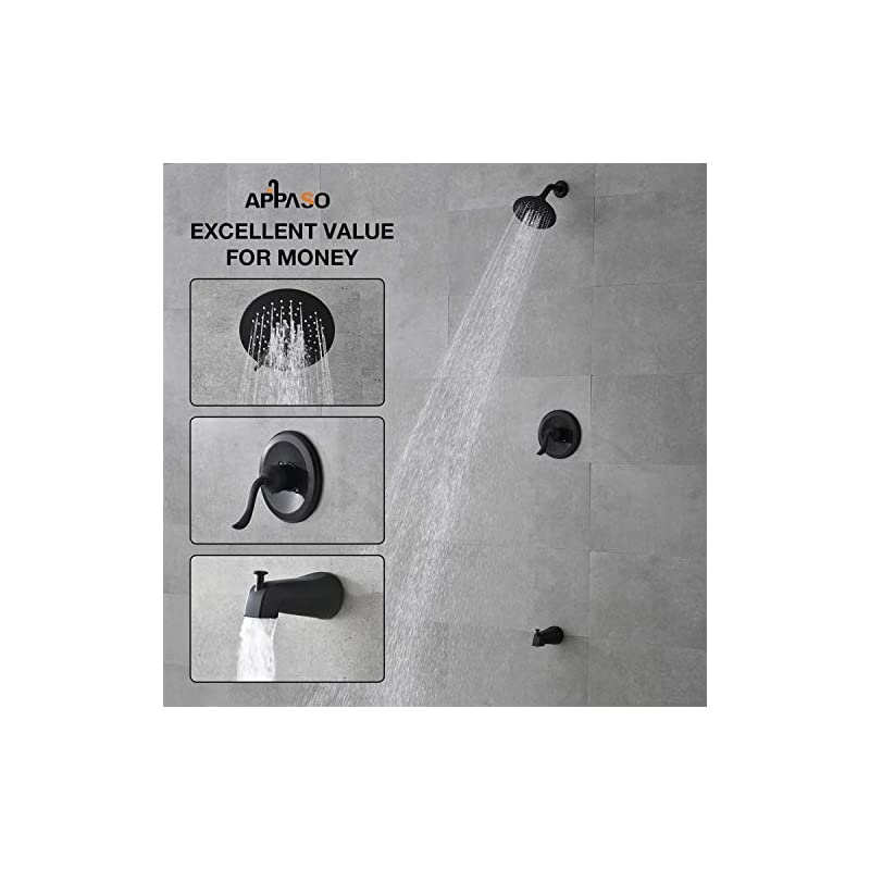 APPASO Shower Faucet and Tub set Matte Black (Valve Included), Shower system with 5-Function Spray Head, Single Handle…