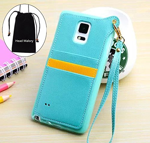 Candy Color Series Samsung Galaxy Note 4 Wristlet Case Soft TPU Back Case Cover for Samsung Galaxy Note 4 Note IV with Multiple Card Holders and PU Leather Design and Detachable Strap,Including Head Malory Logo Drawstring Bag Pouch (Mint)